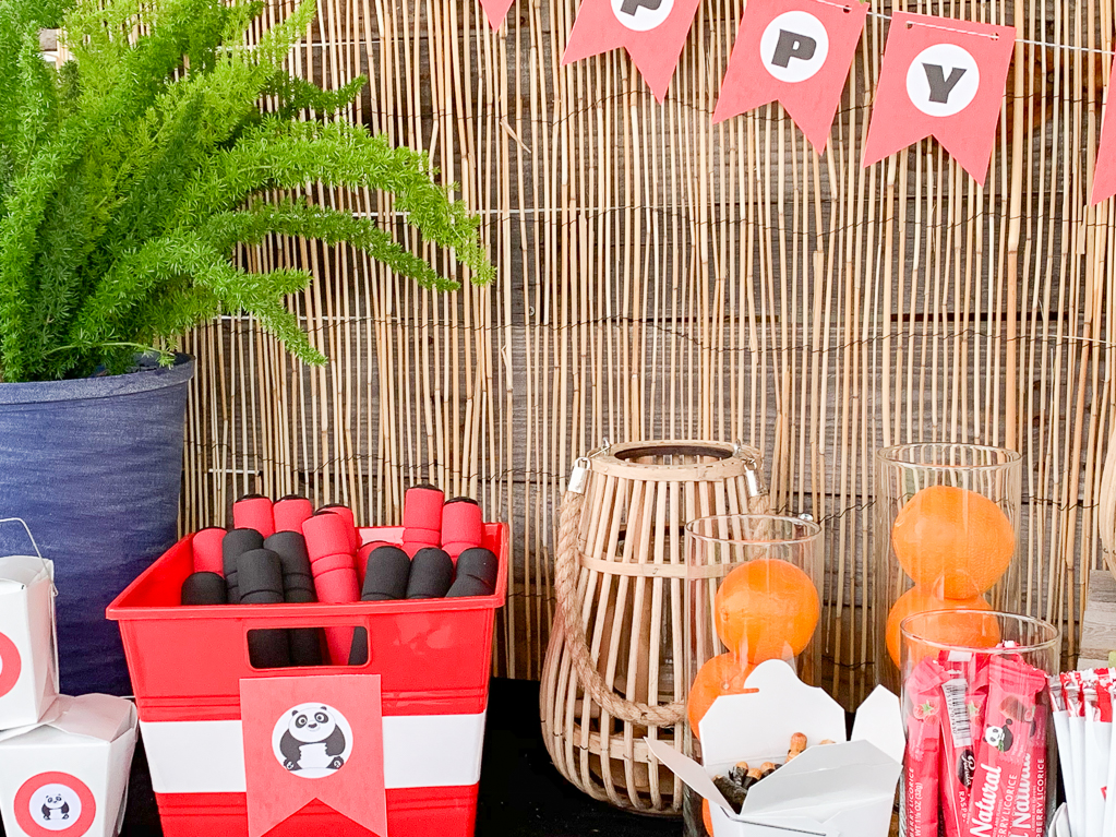 Red and Black Panda Party Table