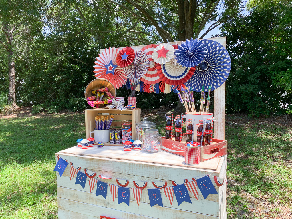 Red White and Blue Fireworks Stand