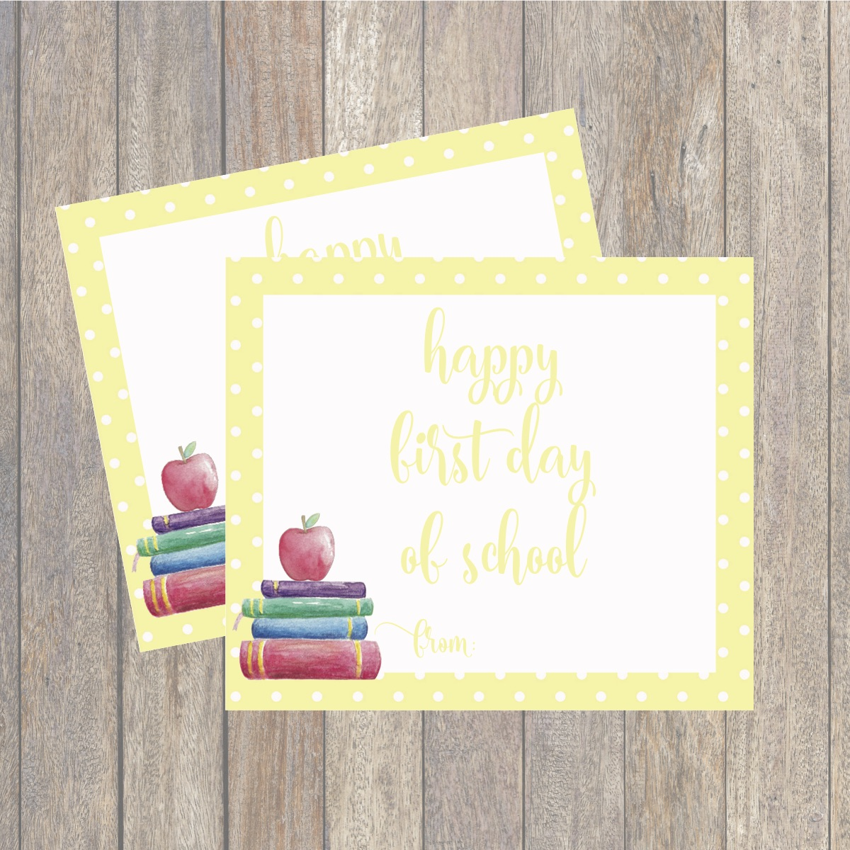 photo regarding Printable Note Cards named Initially Working day of University Printable Observe Playing cards - Day by day Celebration Journal