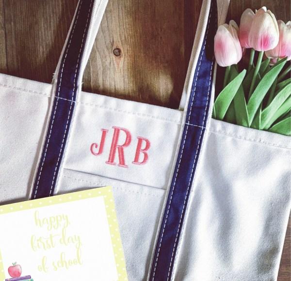 Monogrammed Tote Bag Back to School Printable
