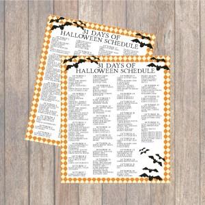31 Days of Halloween Printable