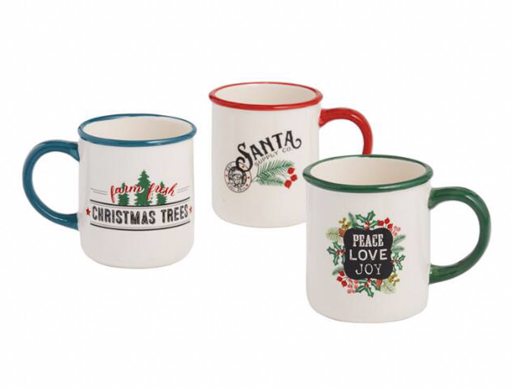 Vintage Holiday Cocoa Mugs
