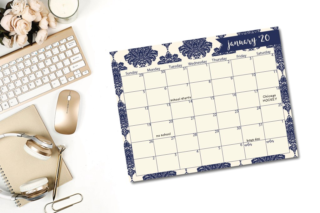 January 2020 Calendar Sheet