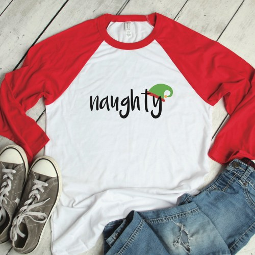 Naughty Elf Raglan Shirt