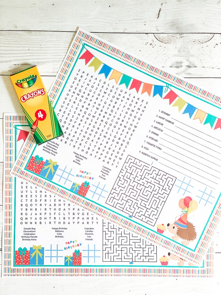 Printable Birthday Activity