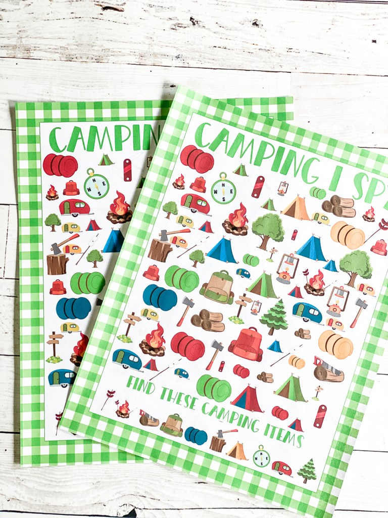 Gingham Plaid Camping Printable