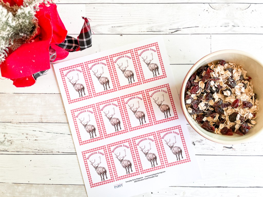 Reindeer Food Ingredients Printable Tags