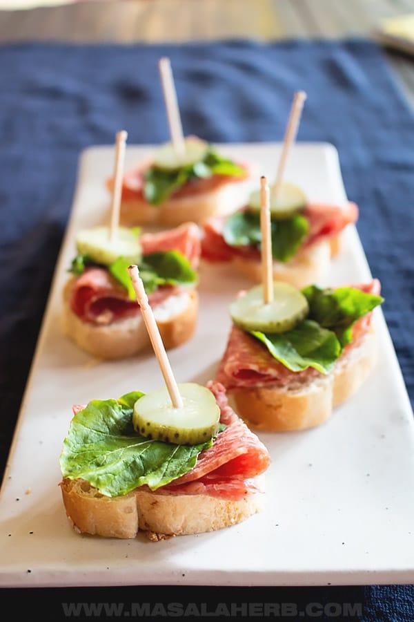 Crostini Salami Pickle Appetizer Bites