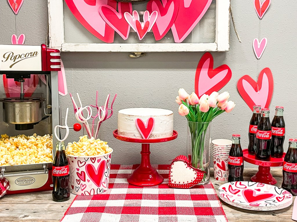 Valentine's Day Dessert Table Cake Popcorn Flowers Cola