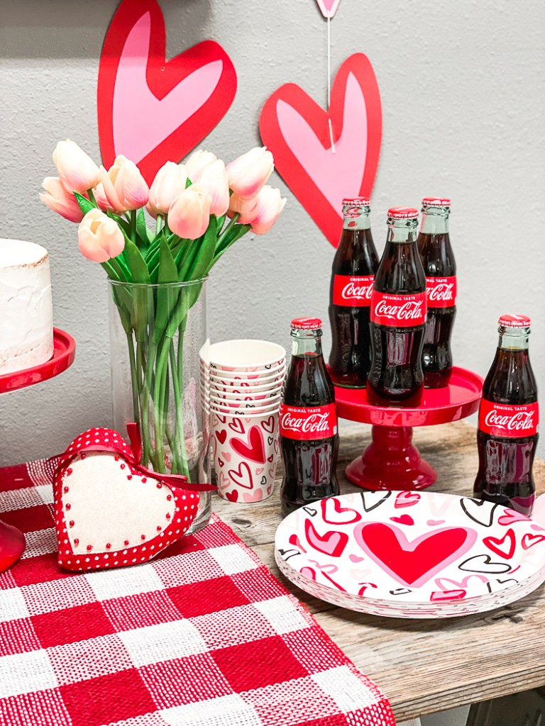 Coca Cola Bottles Valentine's Day Plates Flowers