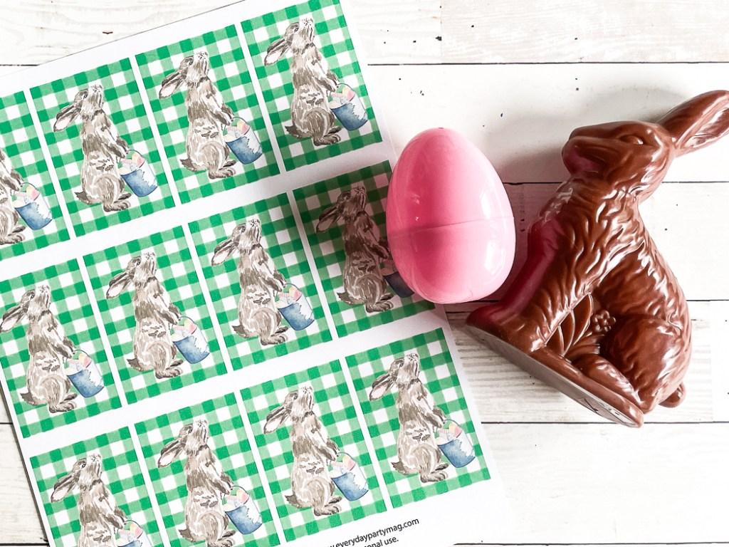 Gingham tags chocolate bunny Easter egg