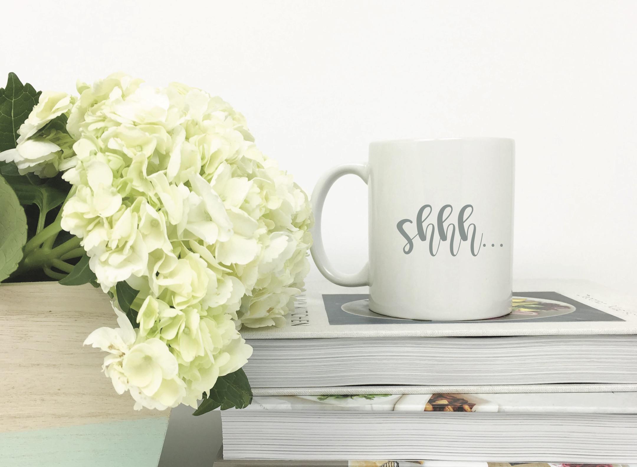 Shh Coffee Mug Books Flowers