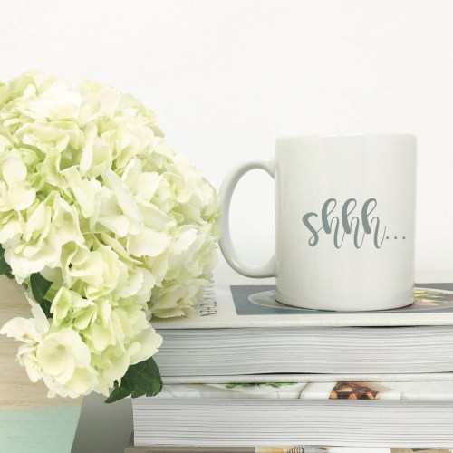 Shh Coffee Mug Books Flowers