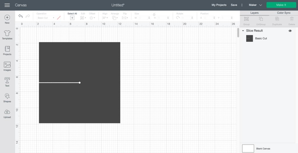 Square Cricut Design Space Screen Shot
