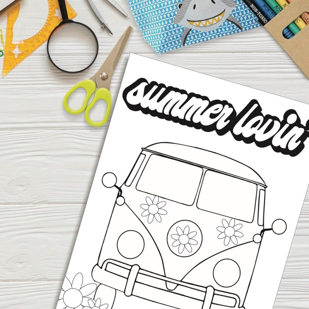 Vintage Bus Coloring Sheet