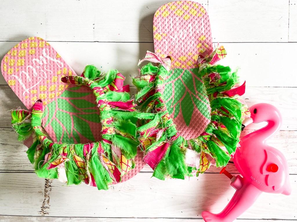 Fabric Scrap Flip Flops Flamingo