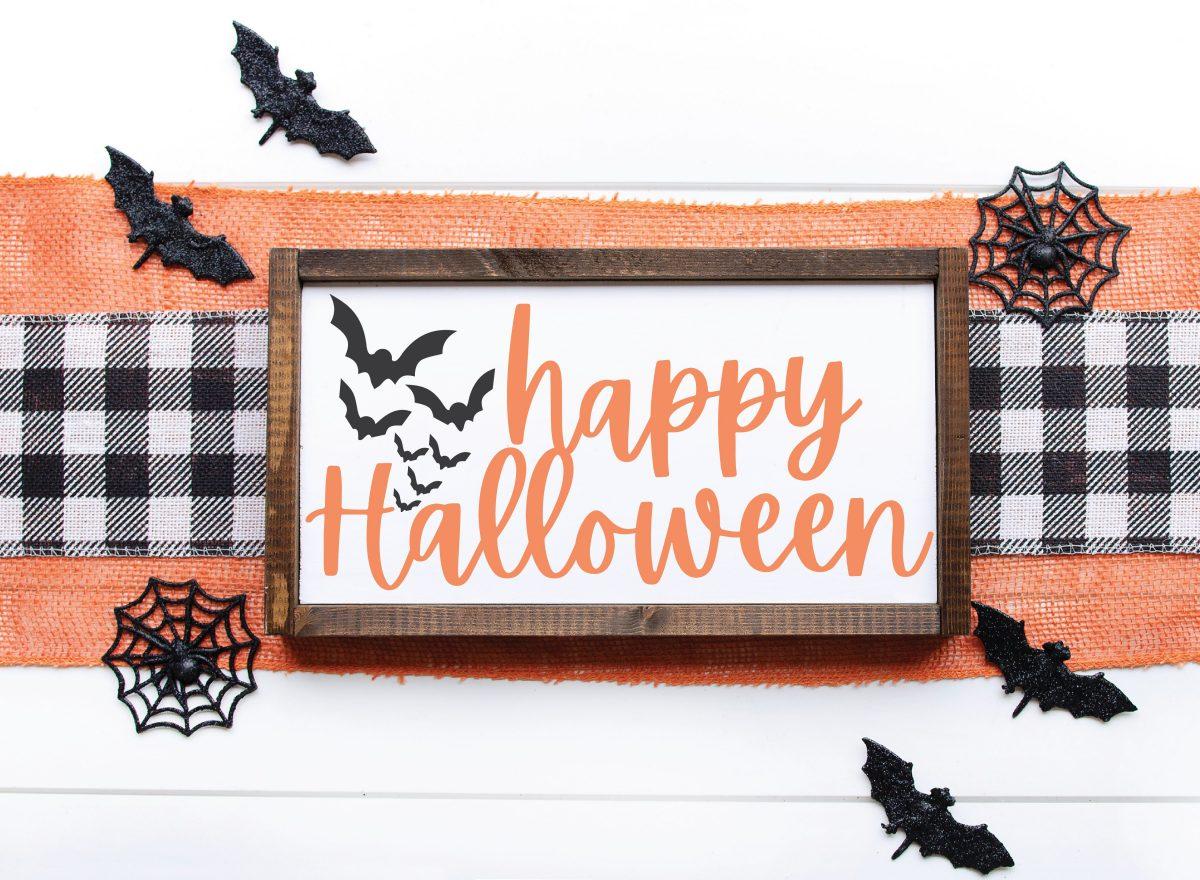 Farmhouse Halloween Sign Bats