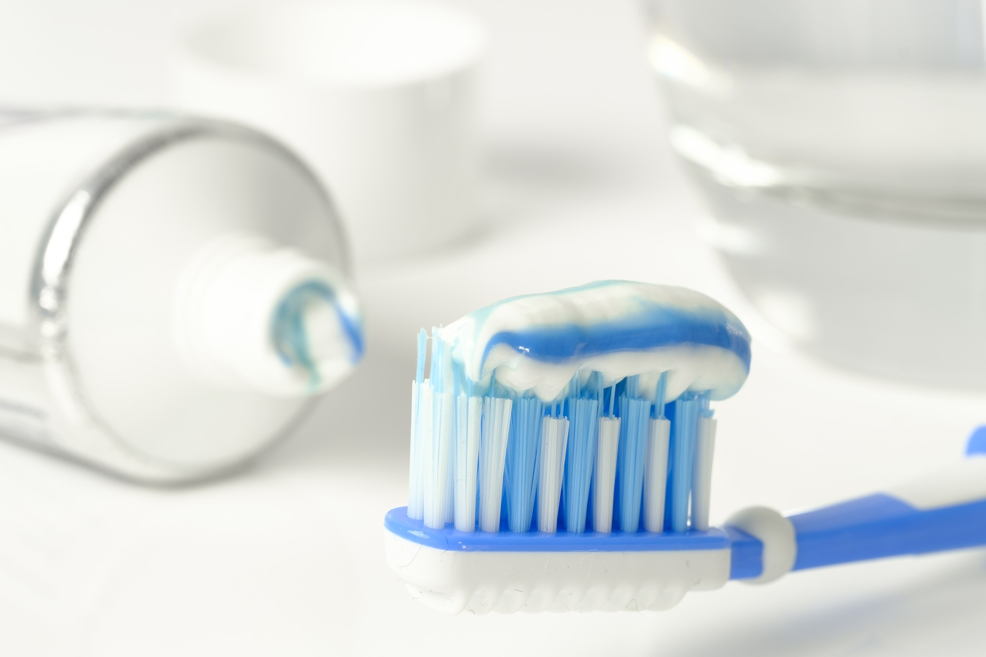 Photo of toothpaste on a toothbrush