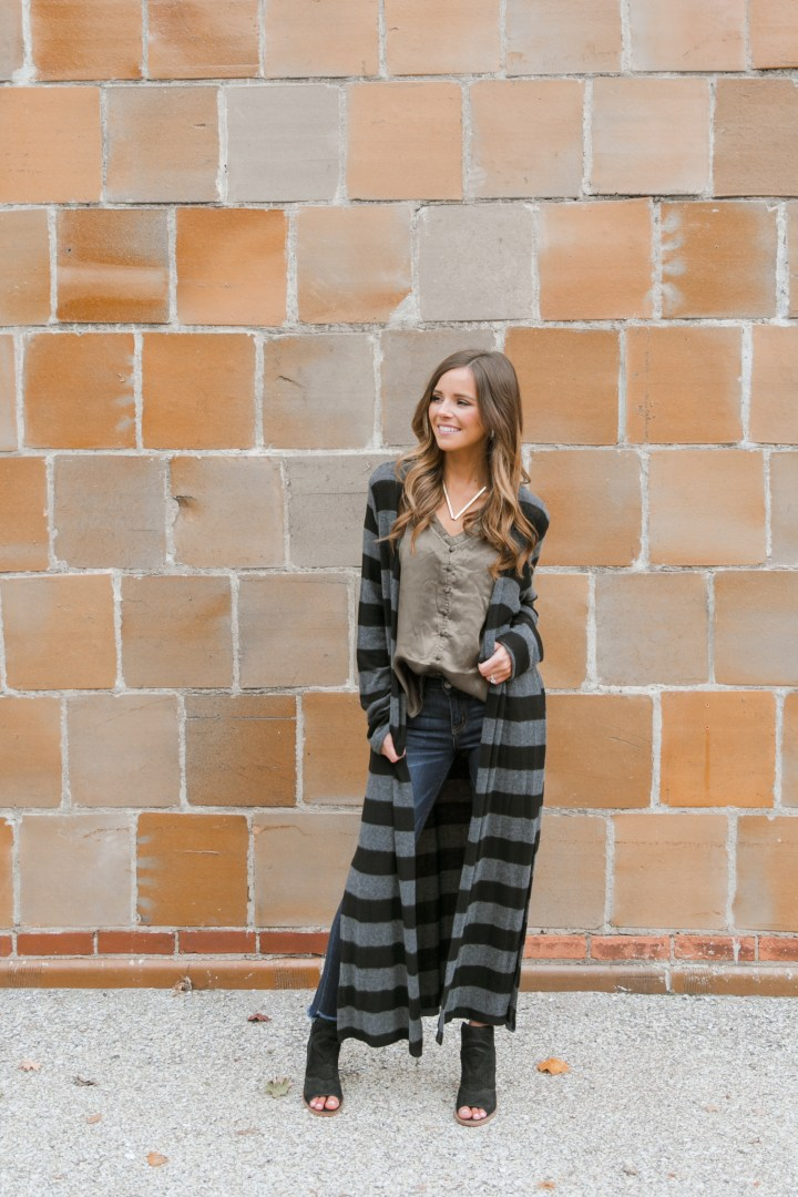 Striped Cardigan & Olive Cami with Blooms & Linen Boutique