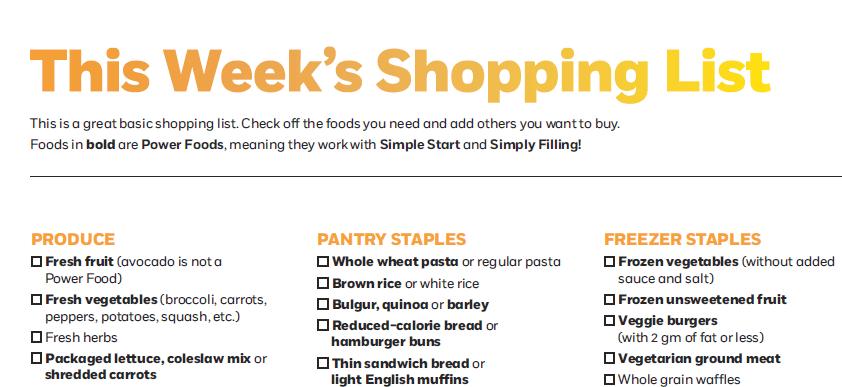 weight watchers simple start shopping list