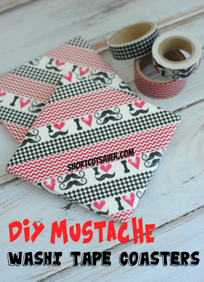 Diy mustache washi tape coasters