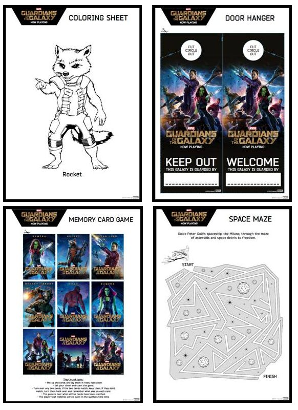 guardians of the galaxy activity sheet