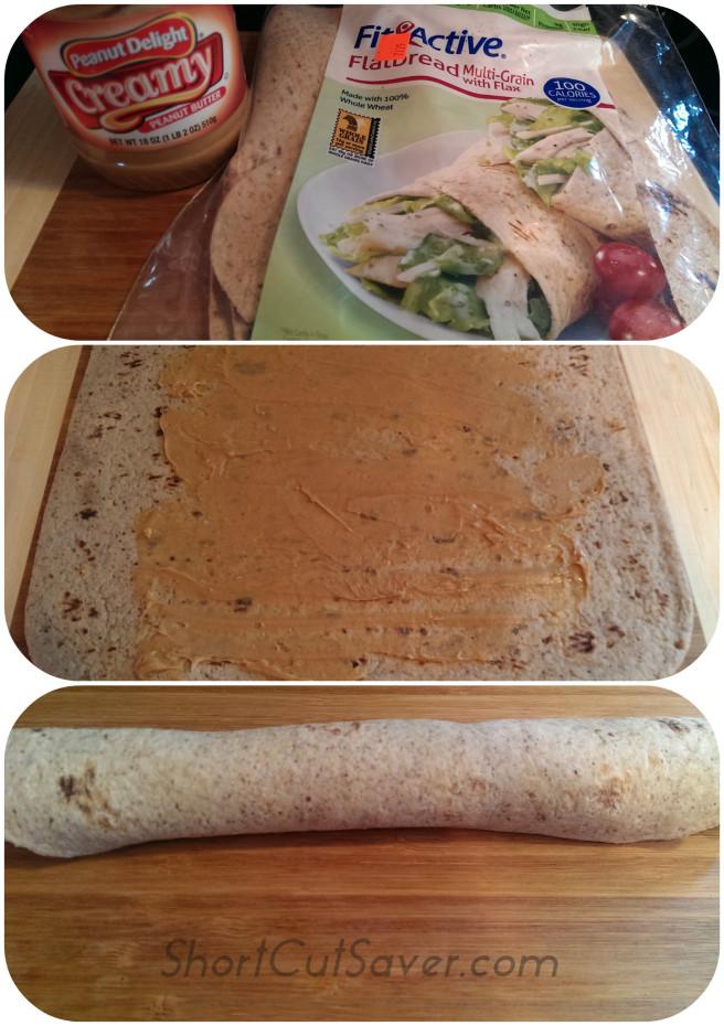 Peanut Butter Tortilla Roll-Up Process