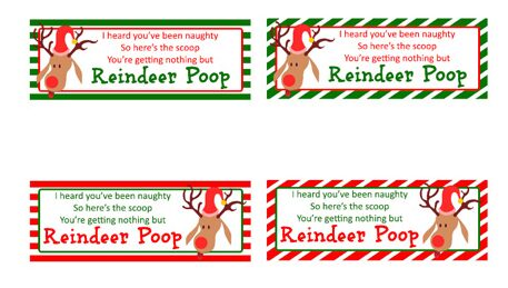 reindeer poop printable labels