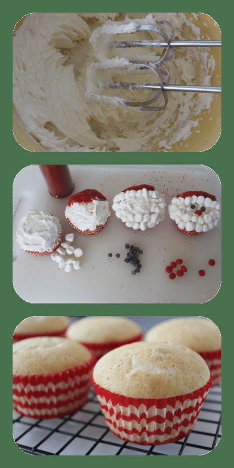 santa cupcakes process