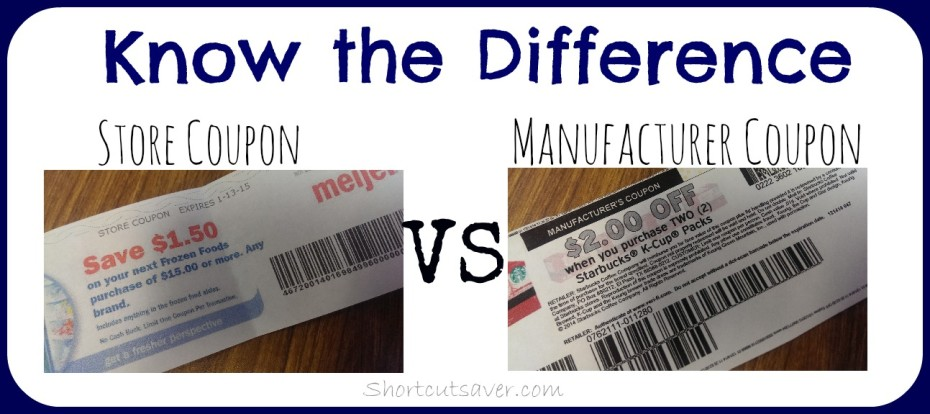 difference between store coupon and manufacturer coupon