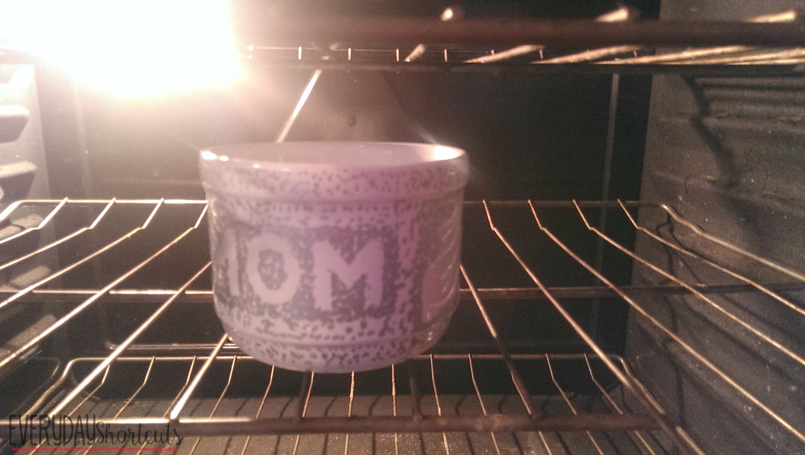 mom sharpie mug in the oven