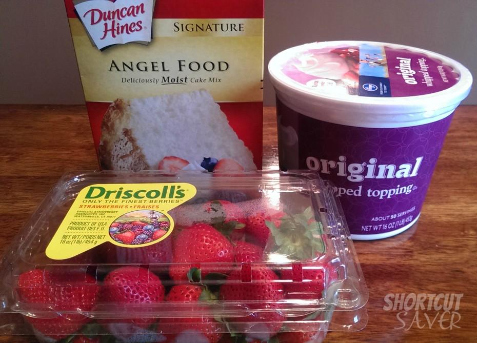 layered strawberry shortcake ingredients