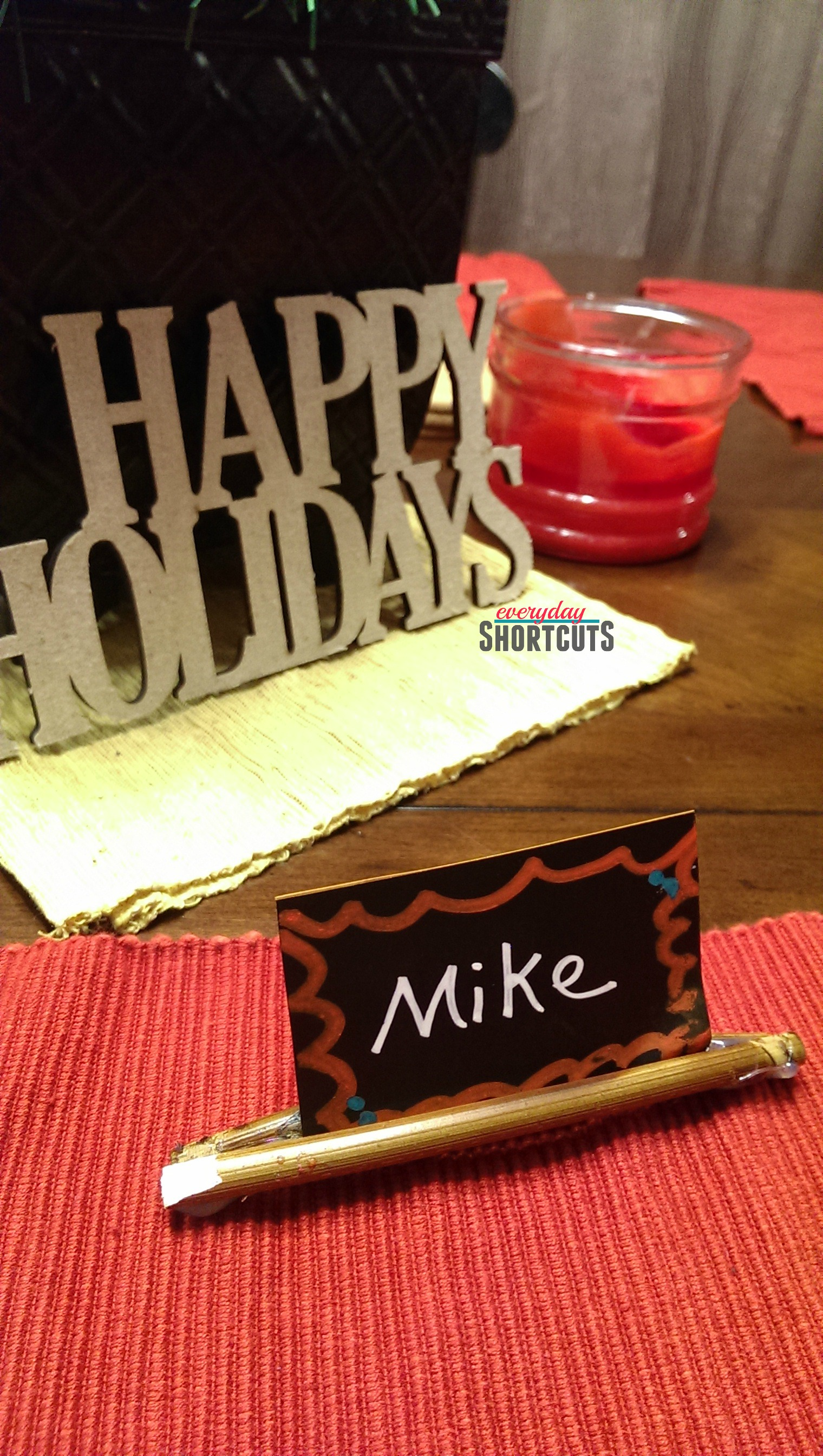 holiday stick place card holder