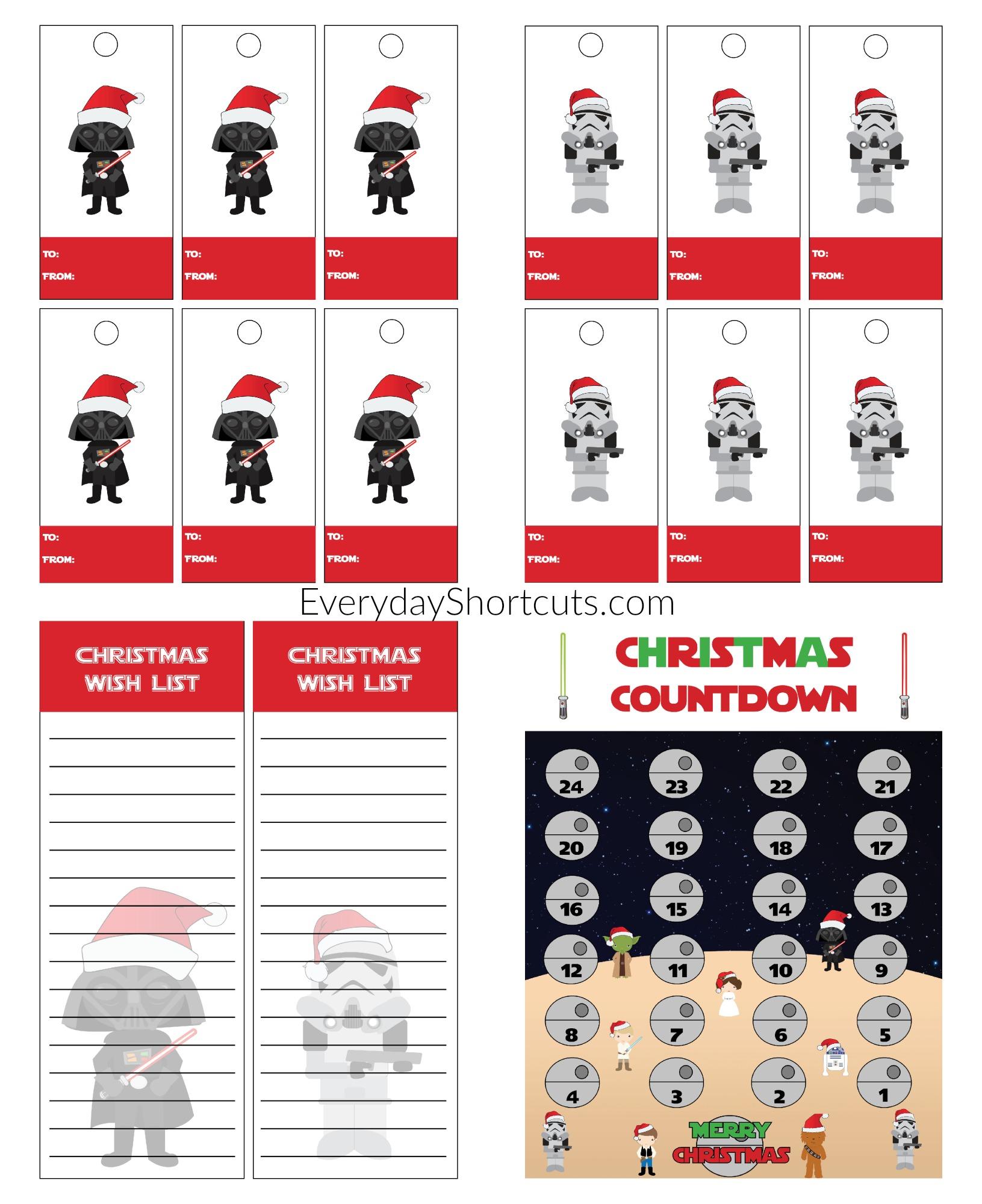 star wars printable gift tags