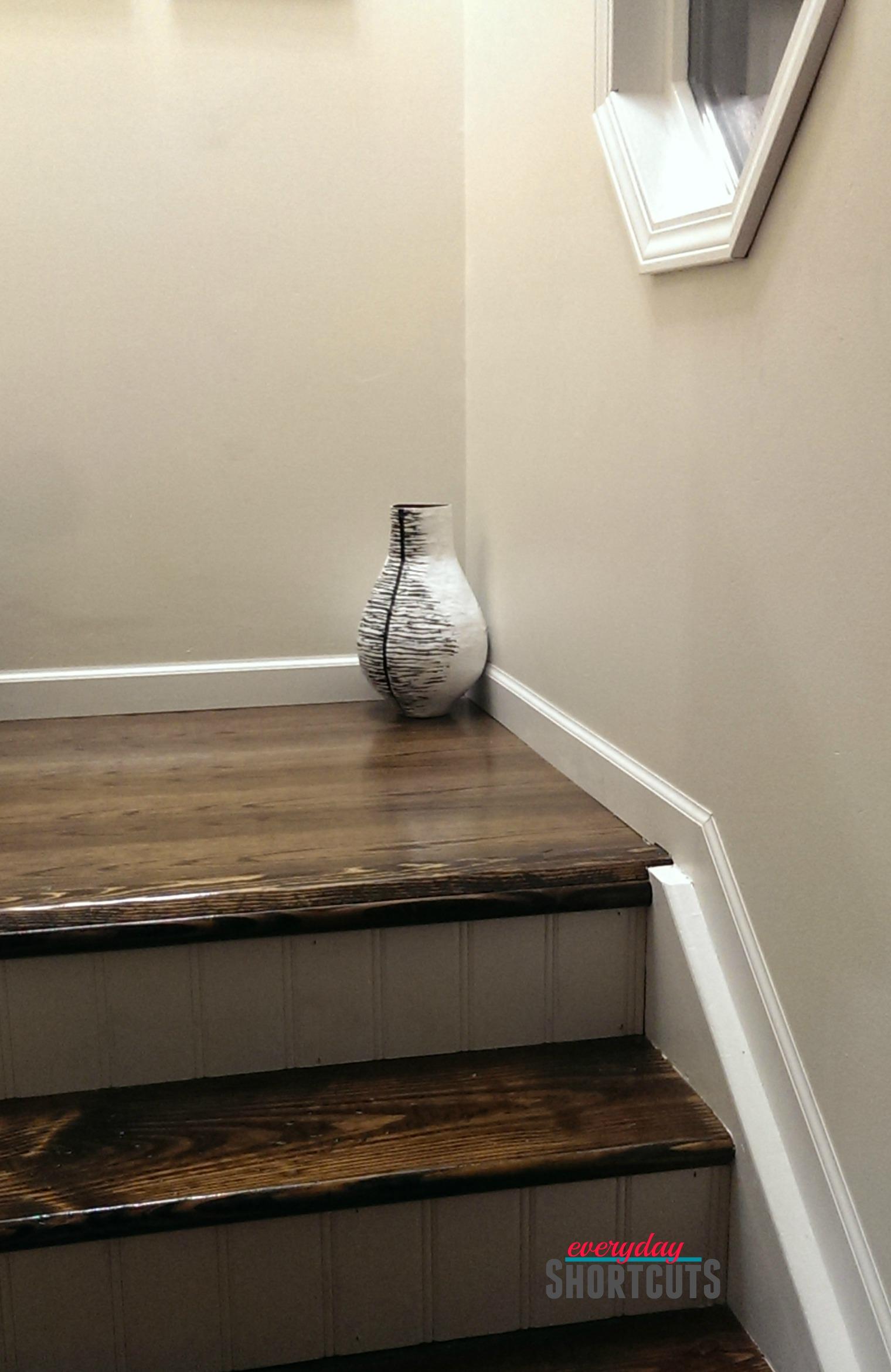 vase on stairs