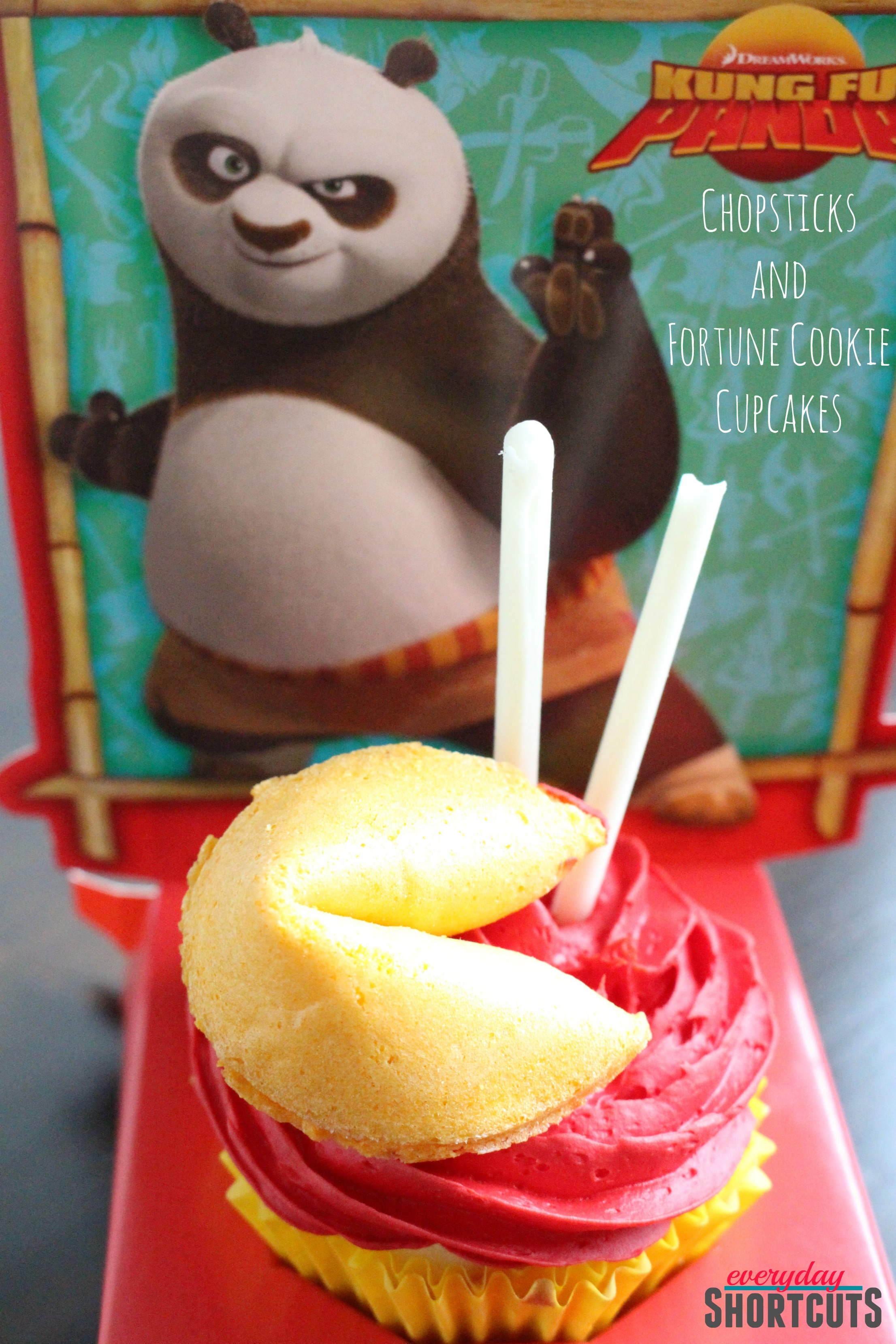 Kung Fu Panda Chopsticks and Fortune Cookie Cupcakes