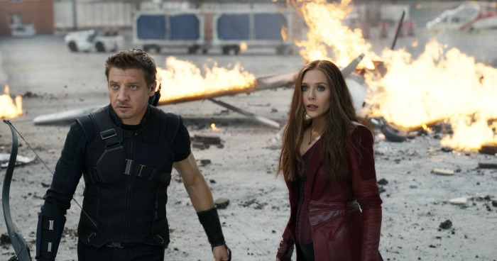 Marvel's Captain America: Civil War L to R: Hawkeye/Clint Barton (Jeremy Renner) and Wanda Maximoff/Scarlet Witch (Elizabeth Olsen). Photo Credit: Film Frame © Marvel 2016