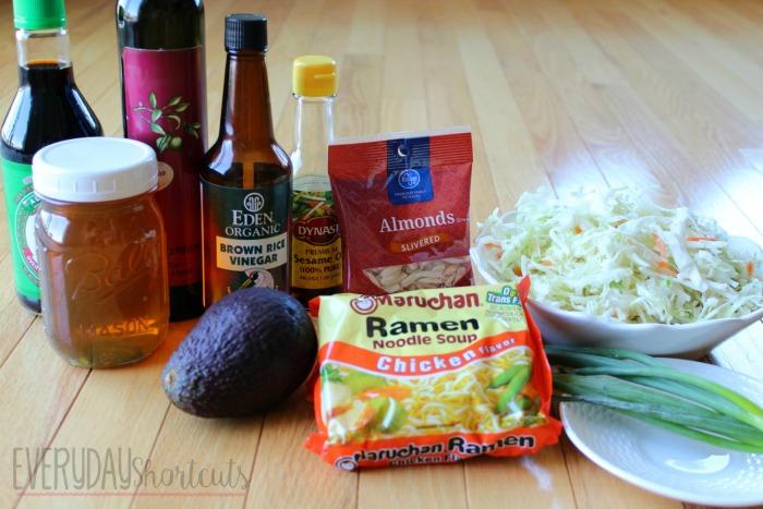 Crunchy Asian Ramen Noodle Salad ingredients
