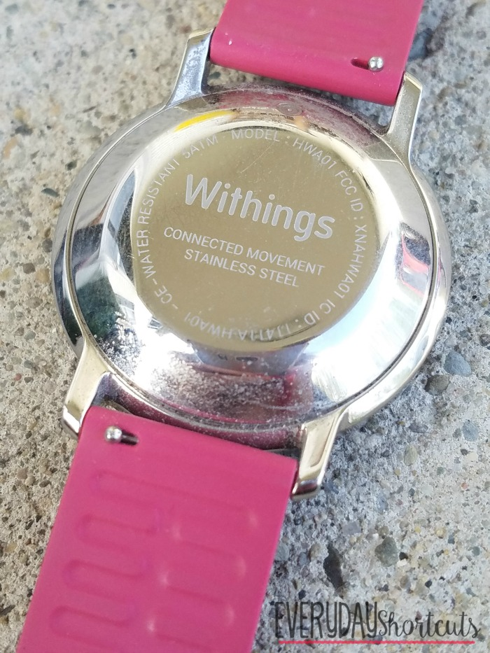 back of withings watch