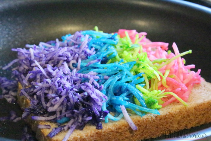 rainbow girlled cheese in pan
