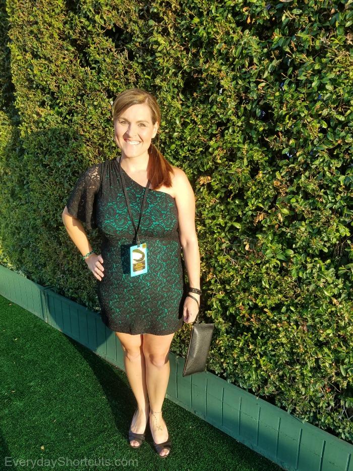 green dress on the green carpet