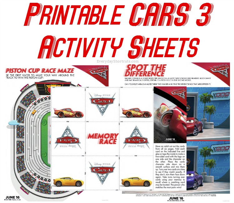 cars 3 activity sheets