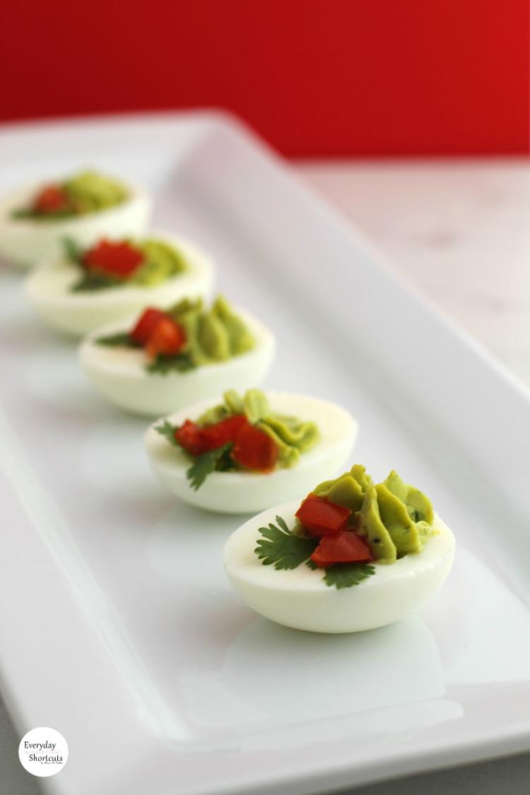 Christmas Holly Avocado Deviled Eggs