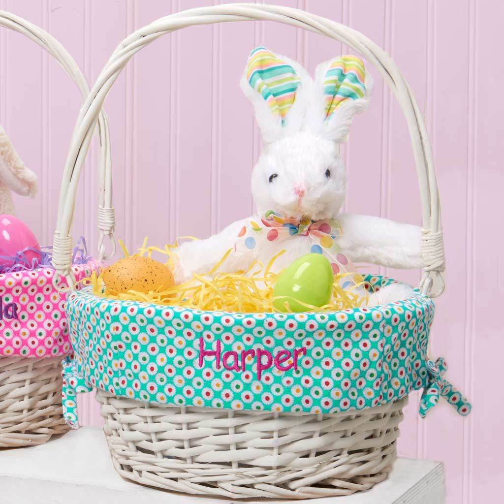 Personalized Colorful Dots Easter Basket Image