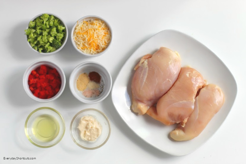 ingredients for Low Carb Broccoli Cheese Stuffed Chicken