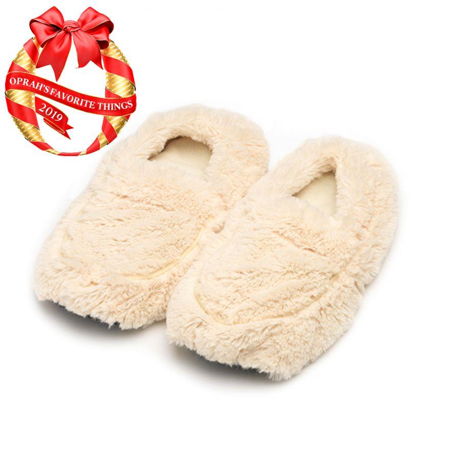 Warmies® Plush Body Slippers Cream Image
