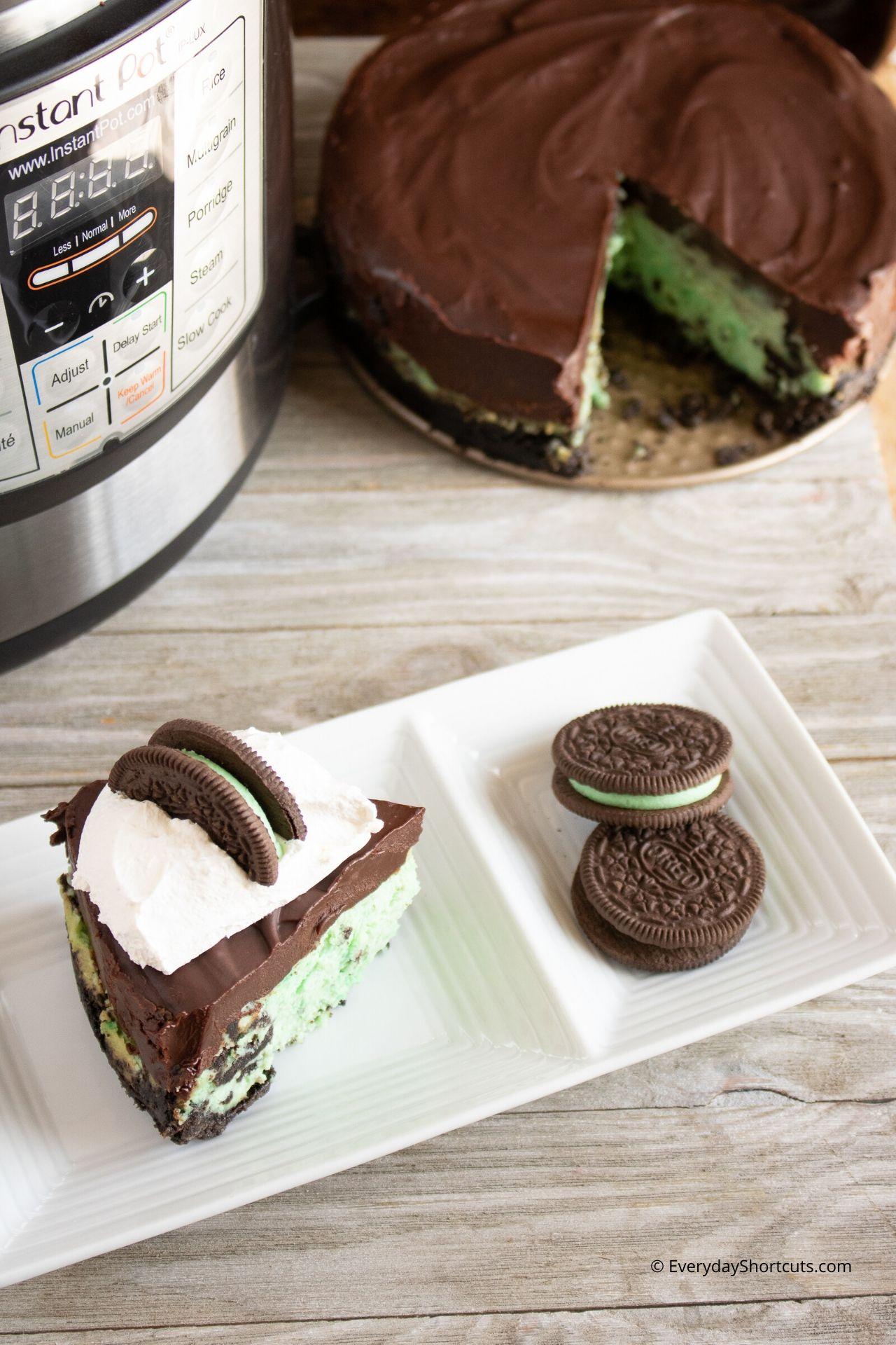 Instant Pot Mint Oreo Cheesecake with Chocolate Ganache