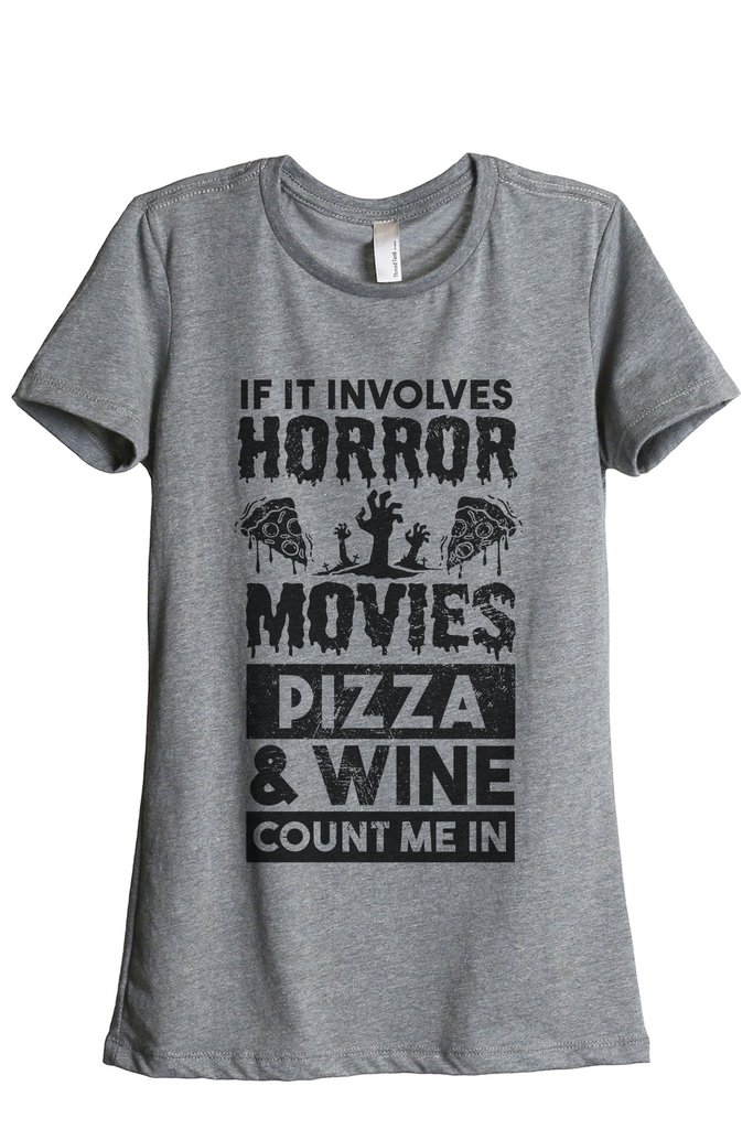 Thread Tank Horror Movies Pizza And Wine Tee Image