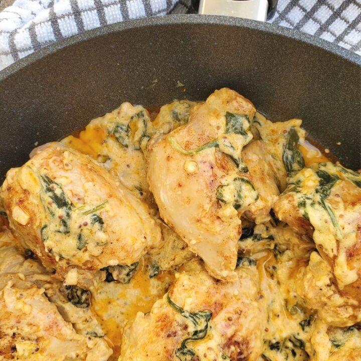 Chicken Thighs in Spinach Mustard Cream Sauce