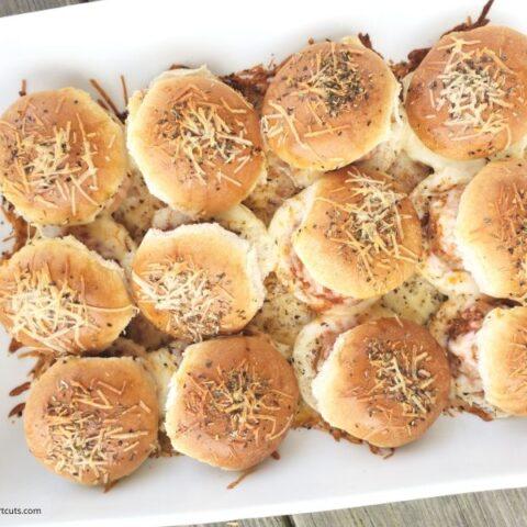 Baked Mozzarella & Parmesan Meatball Sliders
